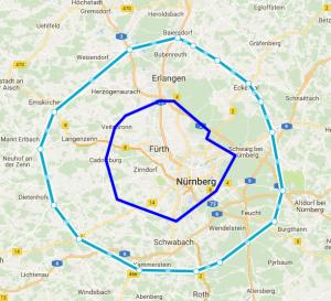 Karte mit der Kern- und der Außenzone zur Visualisierung der Anfahrtskosten